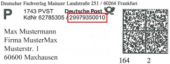 Adressetikett mit Registriernummer